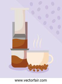 coffee cup with grinder and beans vector design
