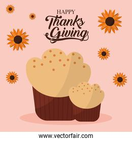 happy thanksgiving day with muffin and flowers vector design