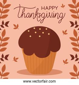 happy thanksgiving day with muffin and leaves vector design