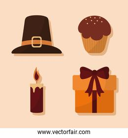 happy thanksgiving day with icon set vector design