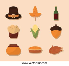 happy thanksgiving day with symbol set vector design