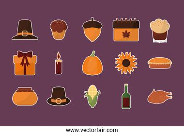 happy thanksgiving day with 15 icon set vector design