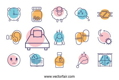 insomnia line style set of icons vector design