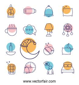 insomnia line style collection of icons vector design