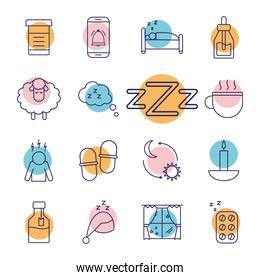 insomnia line style icons collection vector design