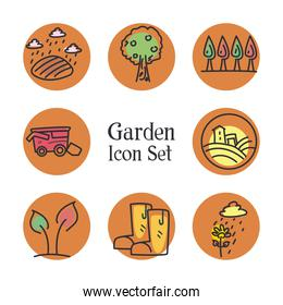 garden line and fill style icon set vector design