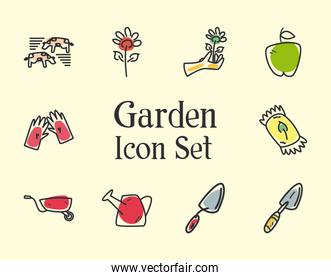 garden line and fill style set icons vector design