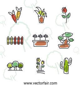 garden line and fill style items collection vector illustration