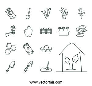 garden line style collection of icons vector design
