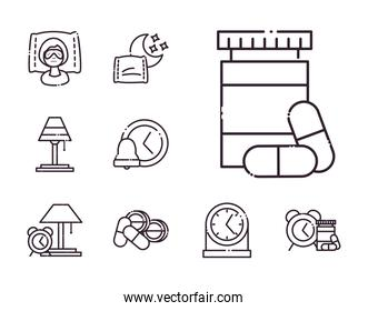 insomnia line style set icons vector design
