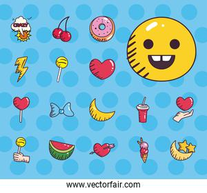 pop art line and fill style collection of icons vector design