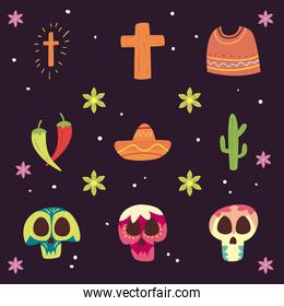 Mexican day of deads free form style icon set vector design