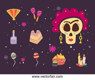 Mexican day of deads free form style set of icons vector design