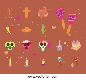Mexican day of deads free form style set icons vector design