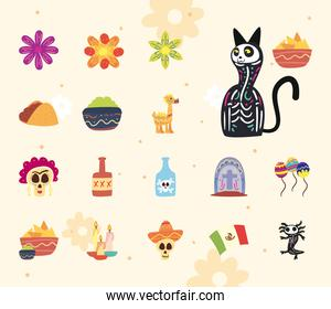 Mexican day of deads free form style collection of icons vector design
