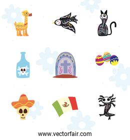 Mexican day of deads free form style icons collection vector design