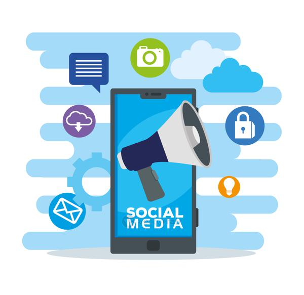 social media icons and smartphone device