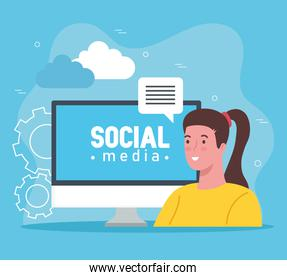 social media letters in computer with woman talking