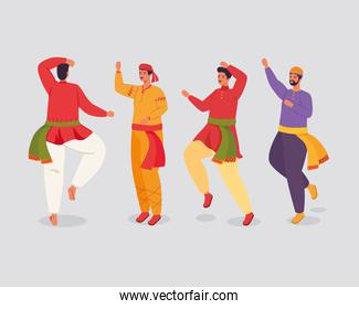 group of men indian with clothes traditional dancing