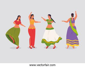 group of women indian with clothes traditional dancing