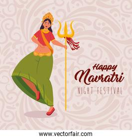 happy navratri celebration poster and woman indian dancing with trident