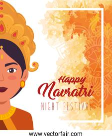 happy navratri celebration poster with half face of maa durga