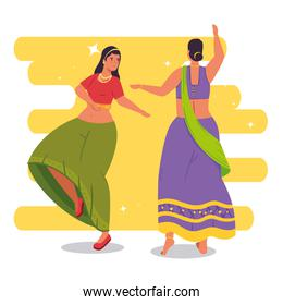women indian with clothes traditional dancing