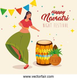 happy navratri, night festival celebration poster with woman dancing and decoration