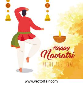 happy navratri, night festival celebration poster and man indian with decoration