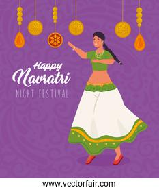 happy navratri celebration poster with woman indian dancing