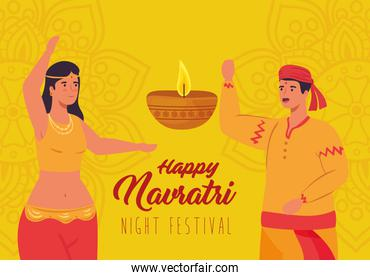 happy navratri celebration poster with couple indian and decoration