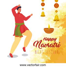 happy navratri, night festival celebration poster with man indian and decoration