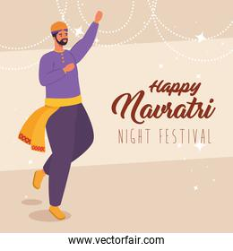 happy navratri, night festival celebration poster with man indian