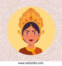 happy navratri celebration poster with face of maa durga in frame circular