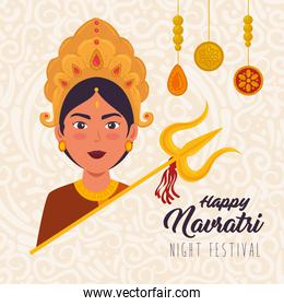 happy navratri celebration poster with face of maa durga with decoration