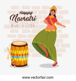 happy navratri celebration poster with maa durga dancing and drum