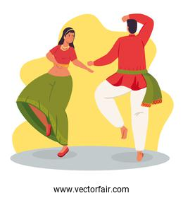 woman and man indian with clothes traditional dancing