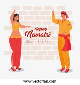 happy navratri, night festival celebration poster with couple indian