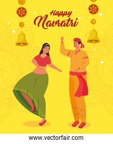 happy navratri, night festival celebration poster with couple indian and decoration
