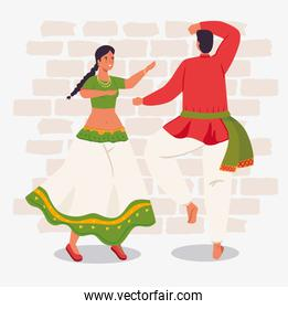 man and woman indian with clothes traditional dancing