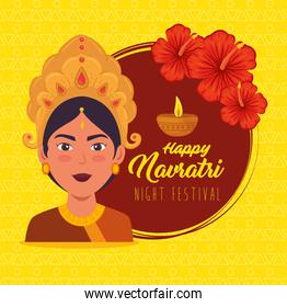happy navratri celebration poster with maa durga and flowers decoration