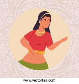 woman indian with clothes traditional dancing in frame circular