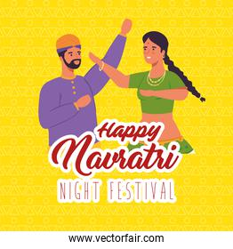 happy navratri, night festival celebration poster with couple indian dancing