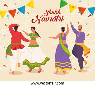 happy navratri celebration poster with indian couples dancing celebrating