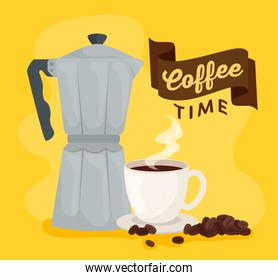 coffee time banner with moka pot and cup ceramic