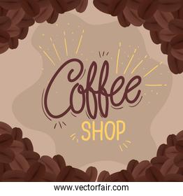banner of coffee shop with decoration of grains