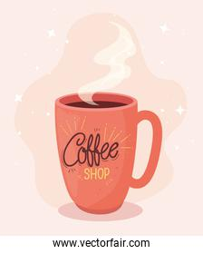 poster of coffee shop with mug ceramic