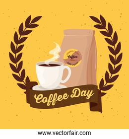 international coffee day poster, 1 october, with cup and bag