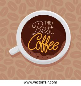 banner of the best coffee with view aerial of ceramic cup