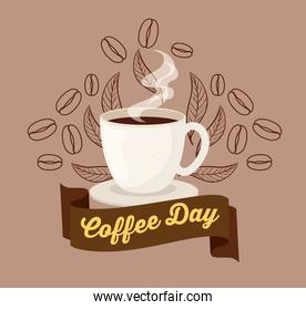 international coffee day poster, 1 october, with ceramic cup